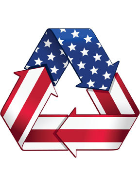 USA flag recycling symbol