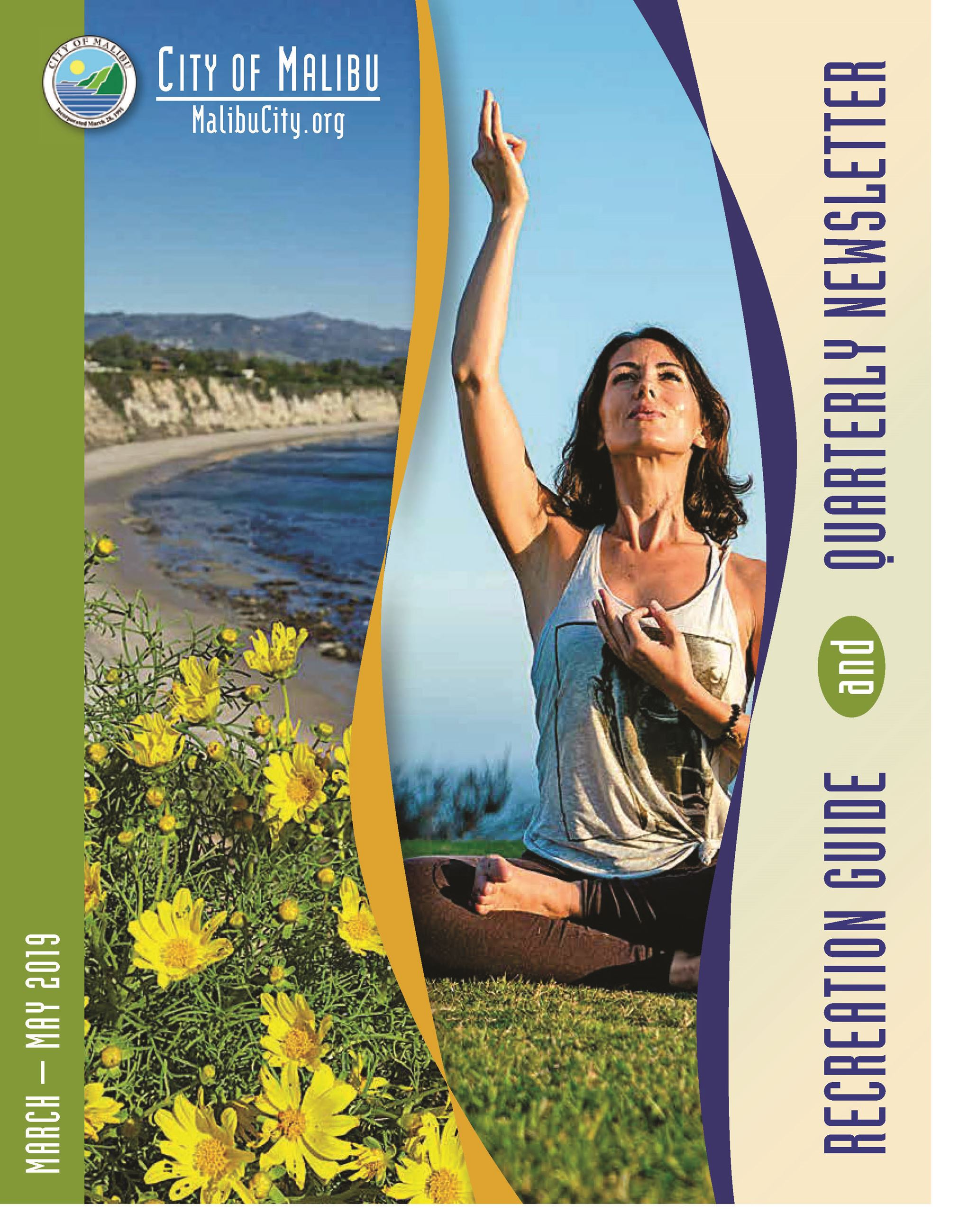 Spring 2019 Recreation Guide Cover Yoga Teacher and Point Dume Scenic