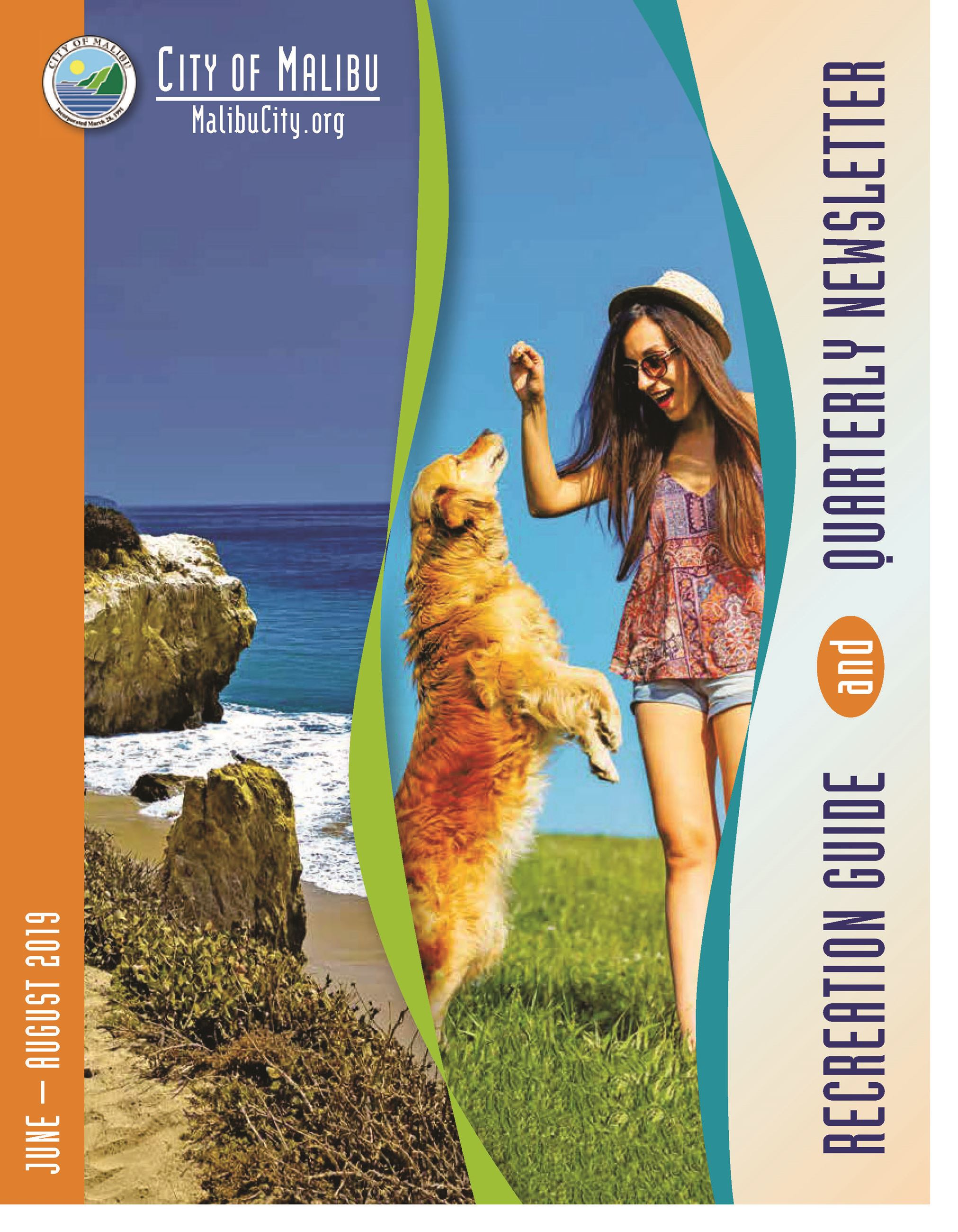 Summer 2019 Recreation Guide Cover Woman with dog