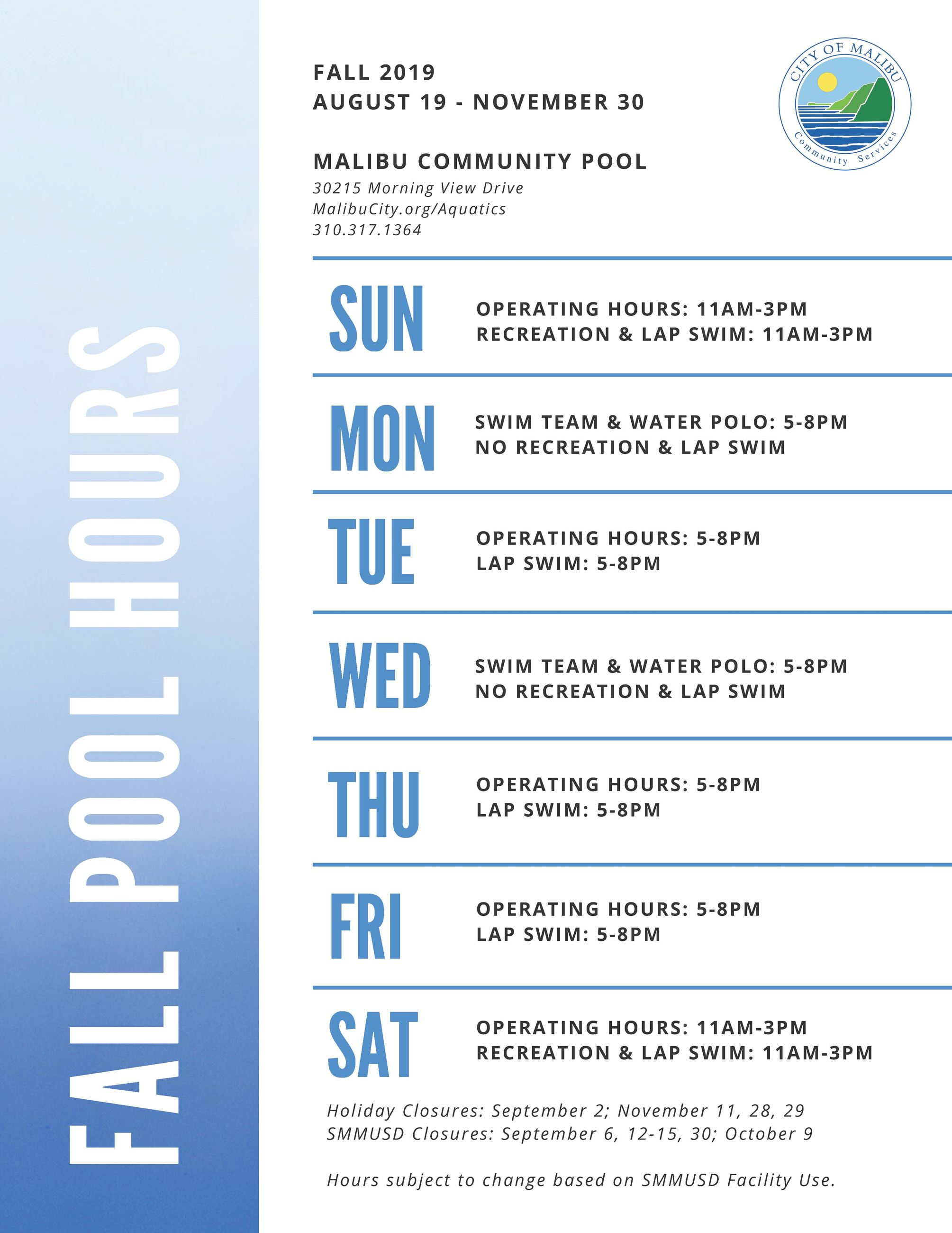 Fall 2019 Pool Hours
