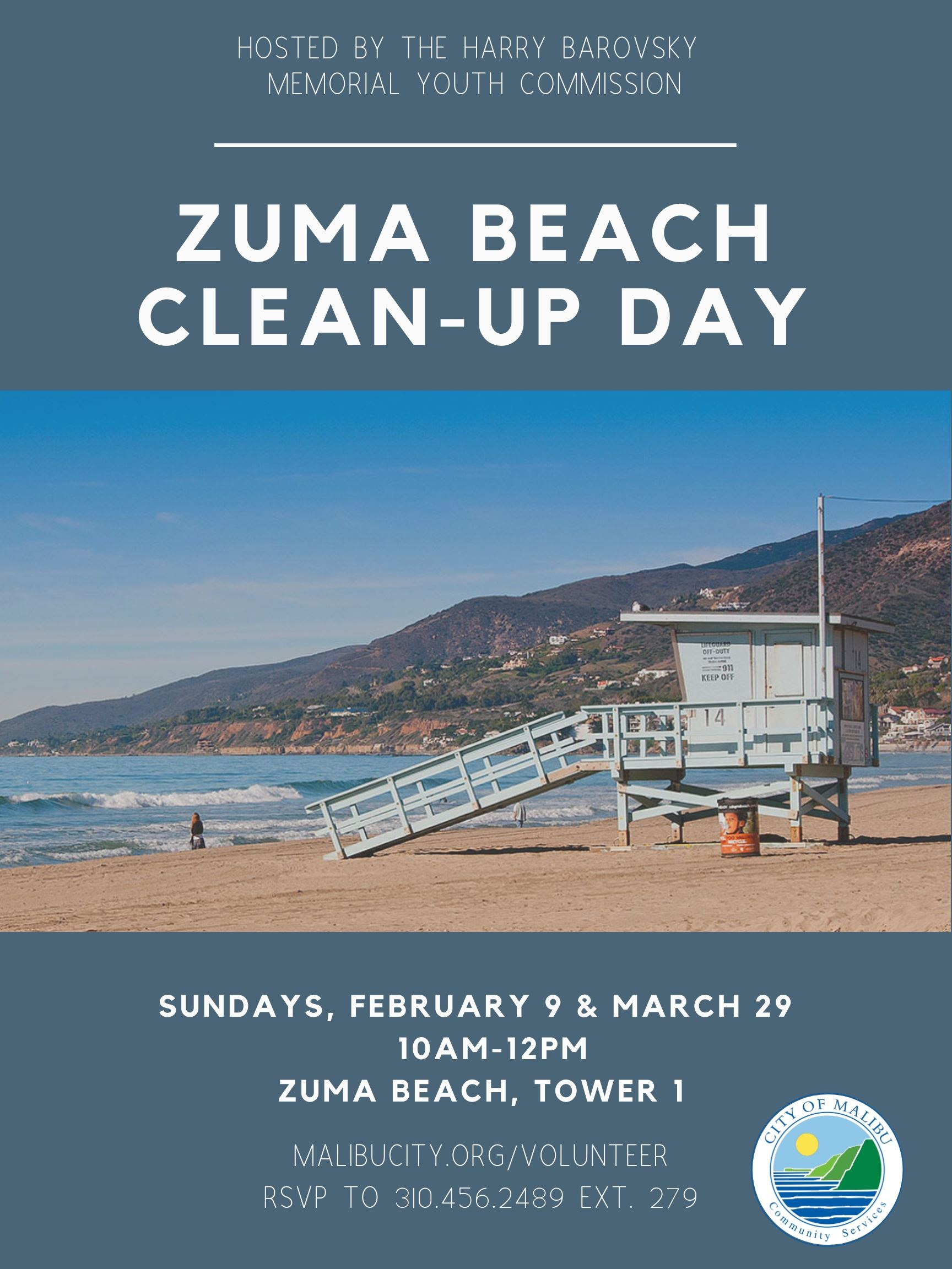 2.9 and 3.29 Zuma Beach Clean Up Day Combo Flyer
