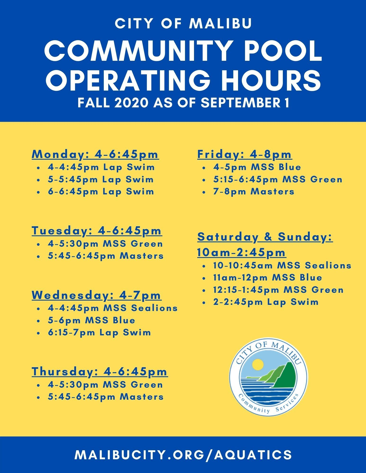 4-7pm Operating Hours as of September