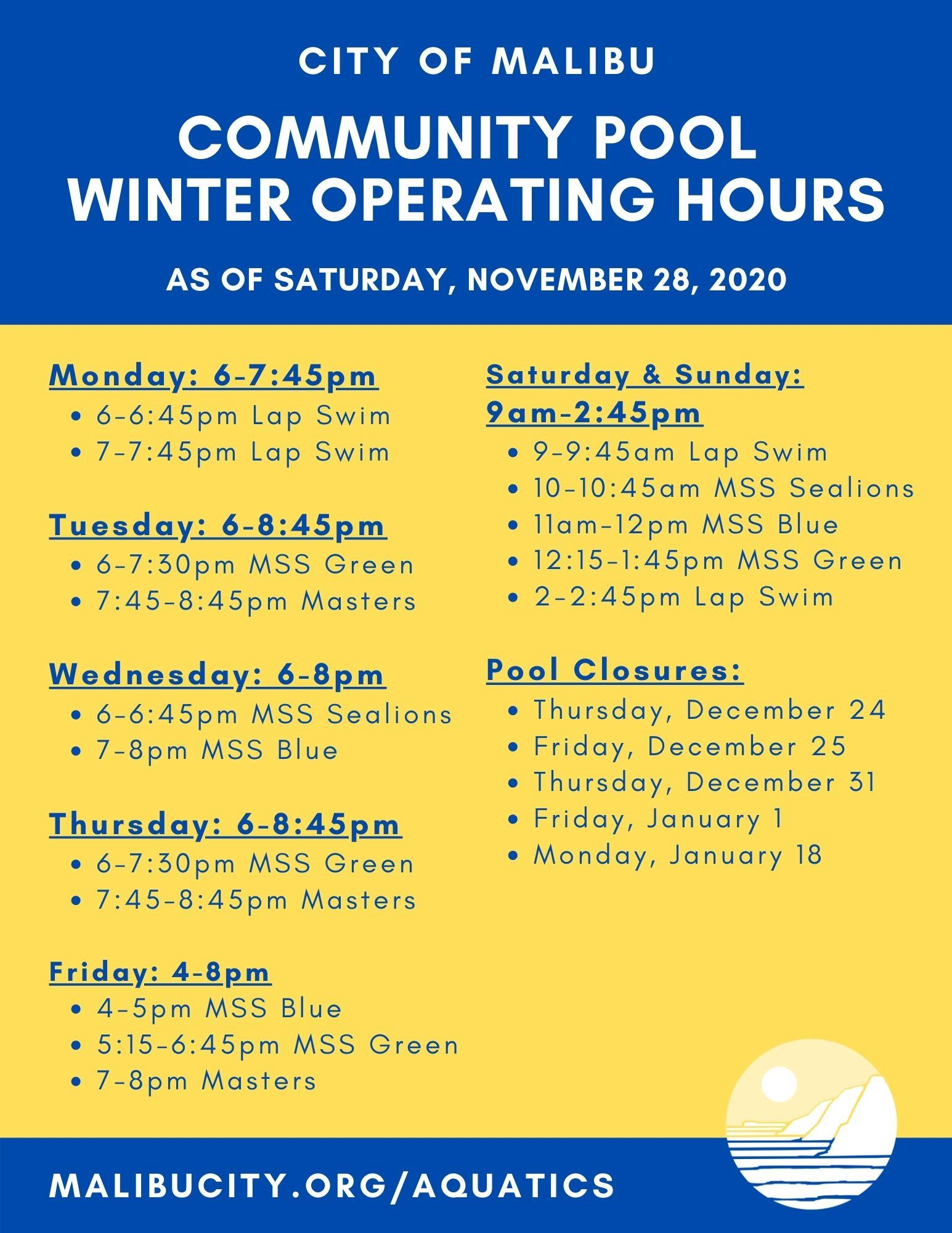Winter 2020-2021 Operating Hours