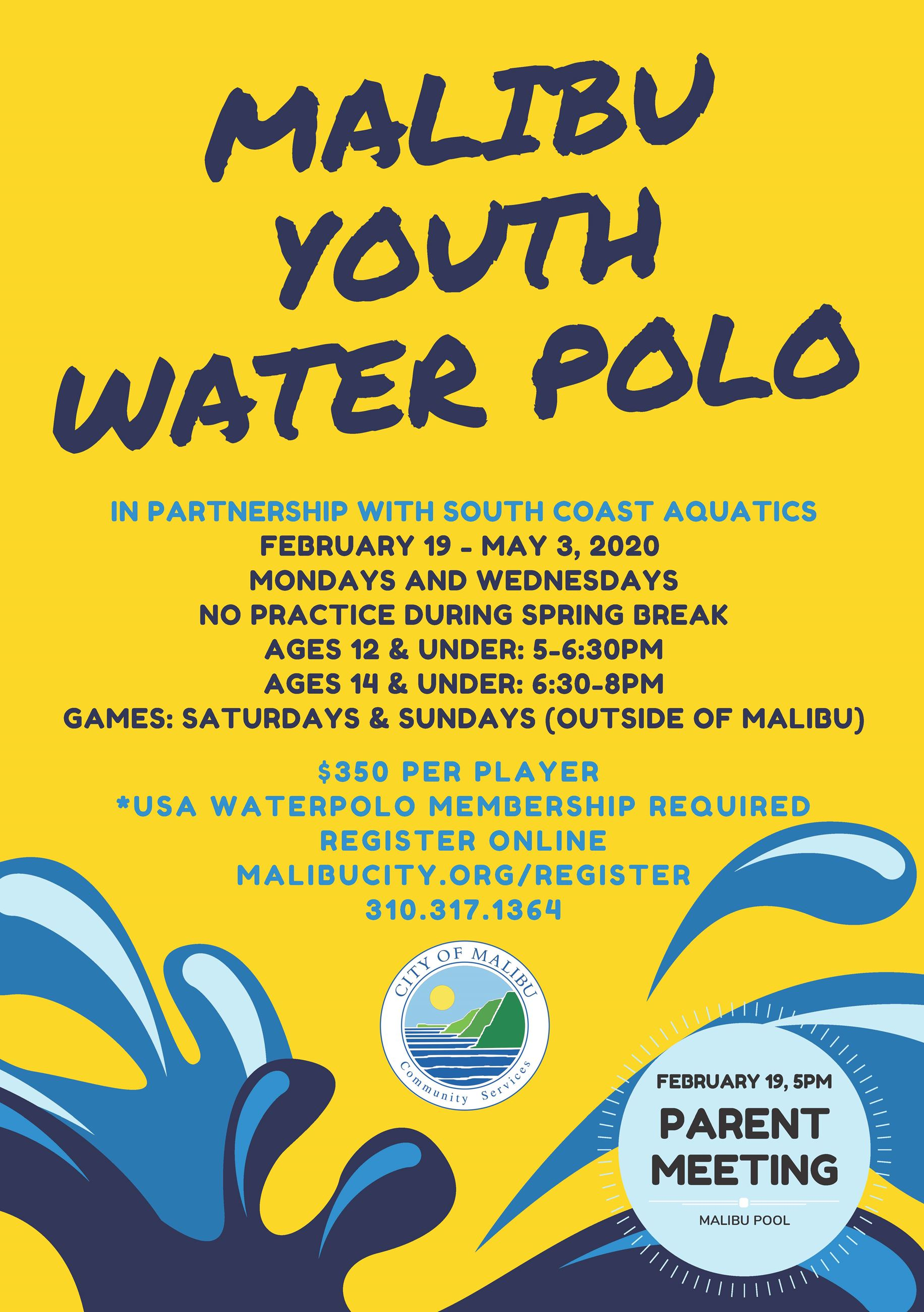 Water Polo Flyer Winter Spring 2020