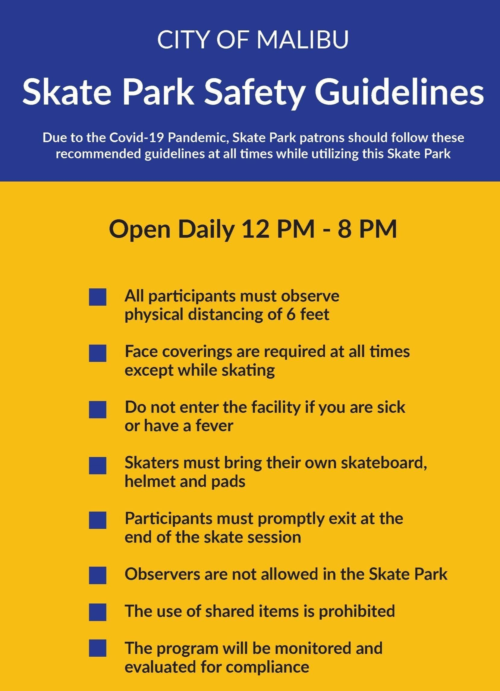Skate Park Covid-19 Safety Guidelines